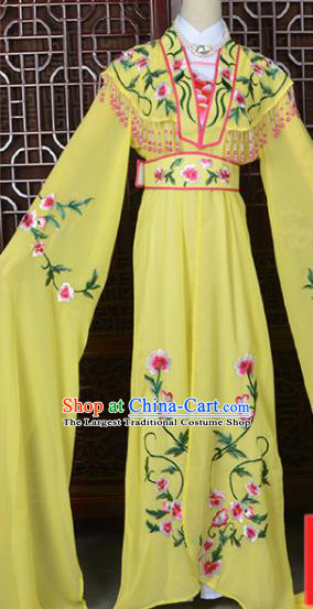 Handmade Chinese Beijing Opera Princess Costume Peking Opera Actress Embroidered Yellow Dress for Women