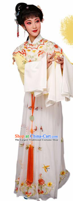 Handmade Chinese Beijing Opera Diva Embroidered Yellow Dress Traditional Peking Opera Princess Costume for Women
