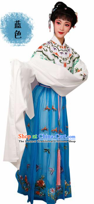 Handmade Chinese Beijing Opera Diva Embroidered Blue Dress Traditional Peking Opera Princess Costume for Women