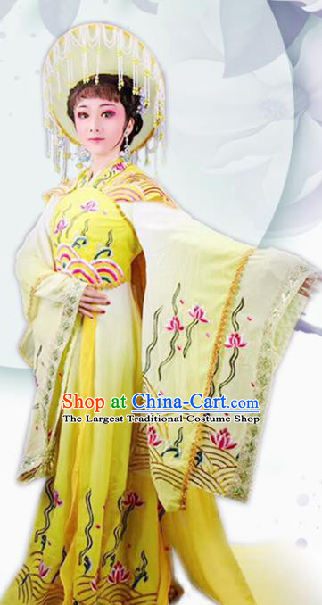 Handmade Chinese Beijing Opera Diva Yellow Embroidered Dress Traditional Peking Opera Dragon Princess Costume for Women