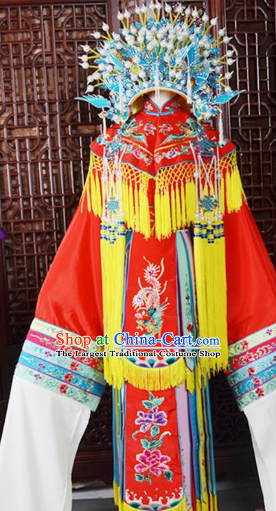 Handmade Chinese Beijing Opera Imperial Consort Red Embroidered Dress Traditional Peking Opera Diva Costume for Women