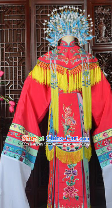 Handmade Chinese Beijing Opera Imperial Consort Rosy Embroidered Dress Traditional Peking Opera Diva Costume for Women