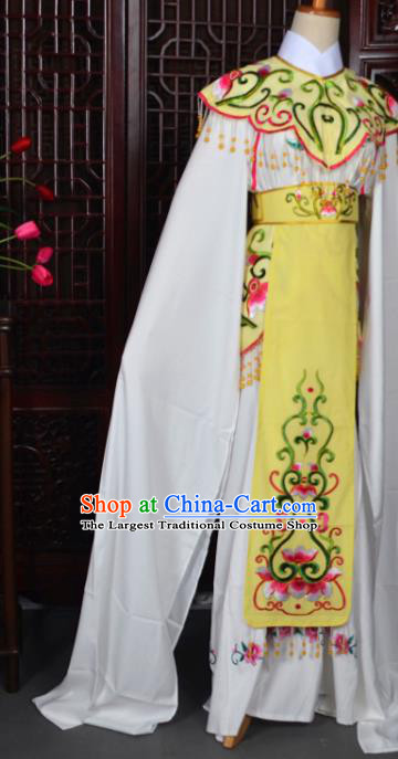 Handmade Chinese Beijing Opera Princess Yellow Embroidered Dress Traditional Peking Opera Diva Costume for Women