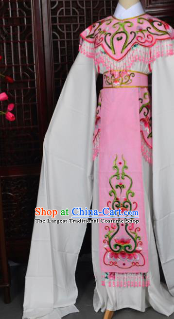 Handmade Chinese Beijing Opera Princess Light Pink Embroidered Dress Traditional Peking Opera Diva Costume for Women