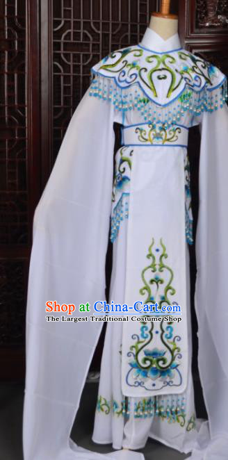 Handmade Chinese Beijing Opera Princess White Embroidered Dress Traditional Peking Opera Diva Costume for Women