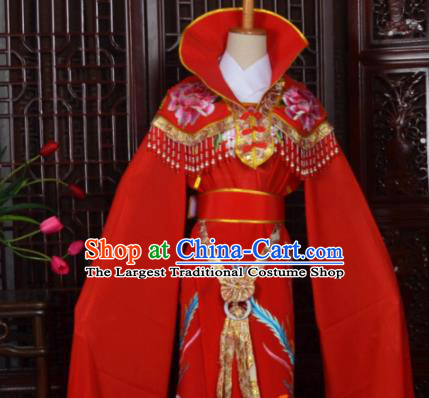 Handmade Chinese Beijing Opera Princess Red Embroidered Dress Traditional Peking Opera Diva Costume for Women