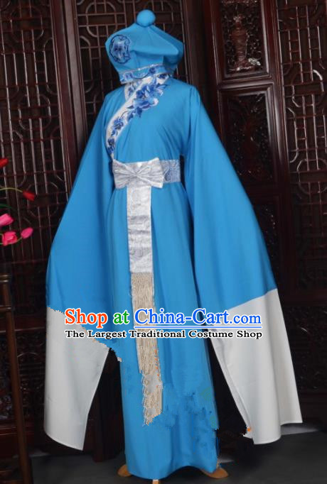Handmade Chinese Beijing Opera Niche Blue Costume Traditional Peking Opera Clothing for Men