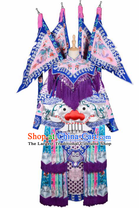 Handmade Chinese Beijing Opera General Guan Yu Pink Costume Traditional Peking Opera Takefu Embroidered Clothing for Men