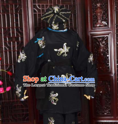 Handmade Chinese Beijing Opera Soldier Black Costume Traditional Peking Opera Takefu Embroidered Butterfly Clothing for Men