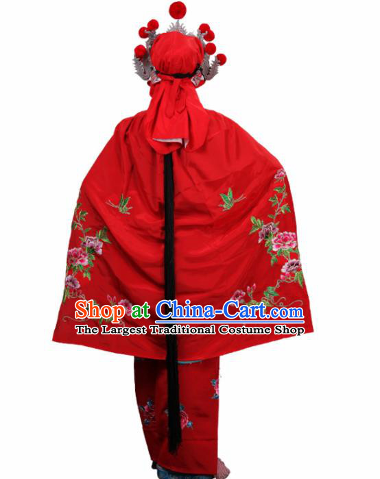 Handmade Chinese Beijing Opera Embroidered Peony Red Cloak Traditional Peking Opera Diva Costume for Women