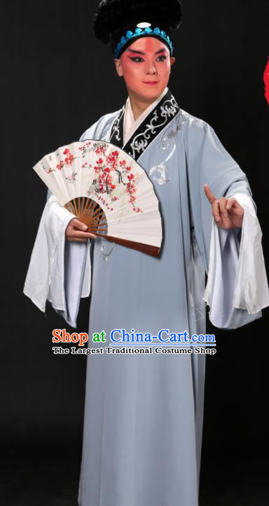 Handmade Chinese Beijing Opera Niche Costume Traditional Peking Opera Scholar Embroidered Grey Robe for Men