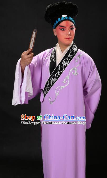 Handmade Chinese Beijing Opera Niche Costume Traditional Peking Opera Scholar Embroidered Purple Robe for Men