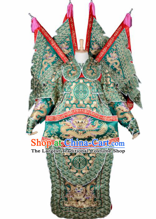 Handmade Chinese Beijing Opera General Guan Yu Green Costume Traditional Peking Opera Takefu Embroidered Clothing for Men