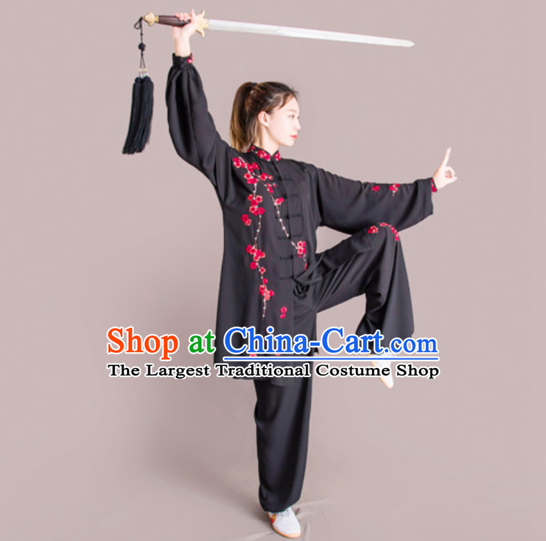 Top Chinese Mandarin Embroidered Plum Blossom Competition Championship Professional Tai Chi Stage Performance Uniforms Clothing and Mantle Complete Set for Women or Men
