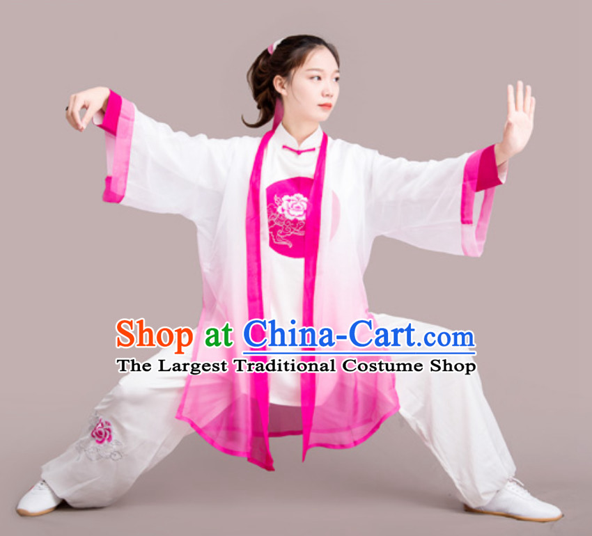 Top Chinese Mandarin Peony Competition Championship Professional Tai Chi Stage Performance Uniforms Clothing and Mantle Complete Set for Women