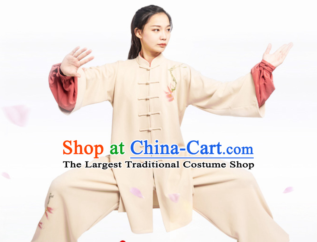 Top Chinese Mandarin Competition Championship Professional Tai Chi Stage Performance Uniforms Clothing and Mantle Complete Set for Women or Men