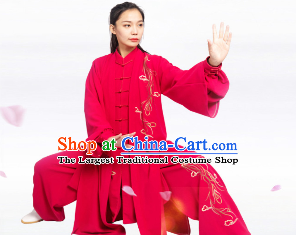 Lucky Red Top Chinese Classical Competition Championship Professional Tai Chi Stage Performance Uniforms Clothing and Mantle Complete Set for Women or Men