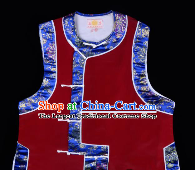 Handmade Chinese Beijing Opera Wine Red Vest Traditional Peking Opera Diva Costume for Women