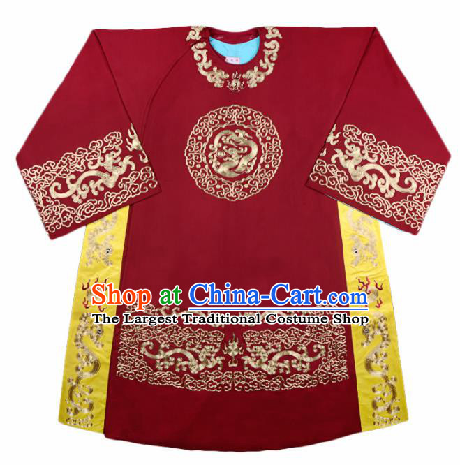 Handmade Chinese Beijing Opera Costume Traditional Peking Opera Minister Embroidered Red Robe for Men