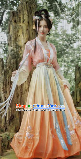 Traditional Chinese Song Dynasty Young Lady Embroidered Hanfu Dress Ancient Drama Historical Costume for Women