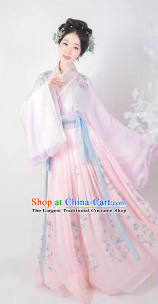Traditional Chinese Jin Dynasty Palace Lady Embroidered Hanfu Dress Ancient Drama Imperial Consort Historical Costume for Women
