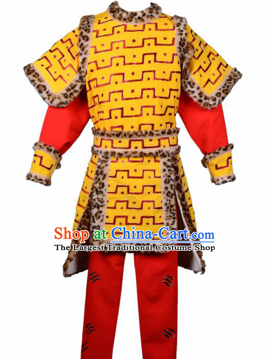 Handmade Chinese Beijing Opera Sun Wukong Costume Traditional Peking Opera Takefu Clothing for Men