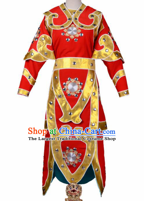 Handmade Chinese Beijing Opera Red Costume Traditional Peking Opera Takefu Clothing for Men