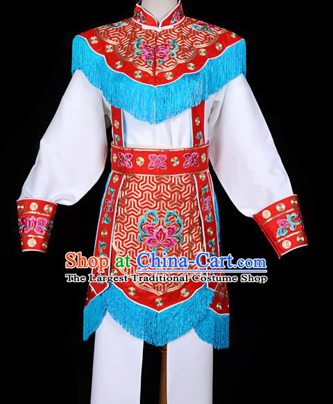 Handmade Chinese Beijing Opera Blues Embroidered Red Clothing Traditional Peking Opera Diva Costume for Women