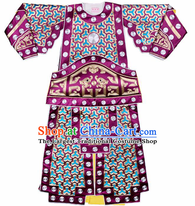 Handmade Chinese Beijing Opera General Purple Costume Traditional Peking Opera Takefu Clothing for Men