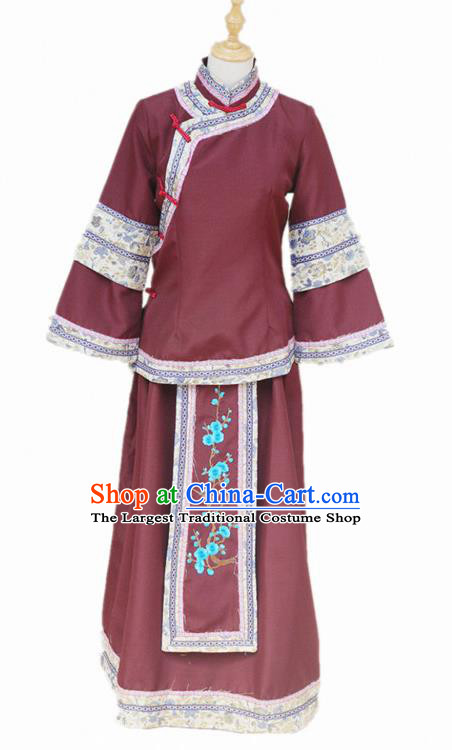 Traditional Chinese Republican Period Young Mistress Purplish Red Dress Ancient Landlord Shiva Costume for Women