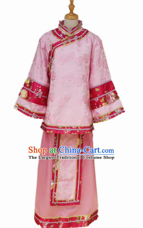 Traditional Chinese Republican Period Young Mistress Pink Dress Ancient Landlord Shiva Costume for Women