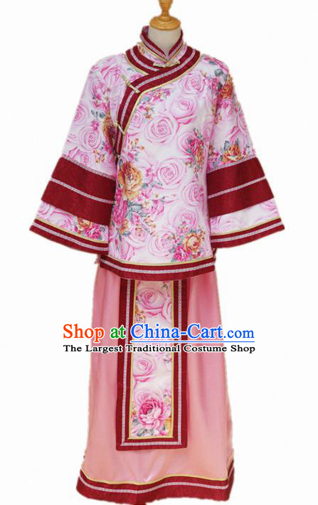 Traditional Chinese Republican Period Young Mistress Printing Roses Dress Ancient Landlord Shiva Costume for Women