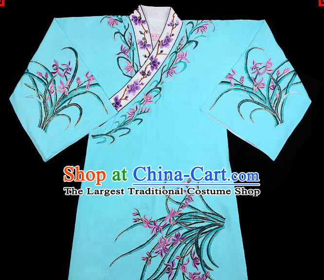 Handmade Chinese Beijing Opera Embroidered Orchid Blue Blouse Traditional Peking Opera Diva Costume for Women