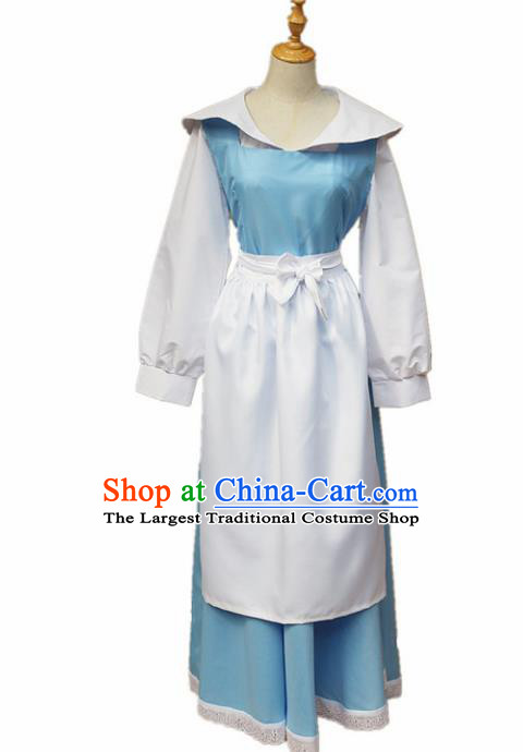 Europe Medieval Traditional Costume European Maidservant Blue Dress for Women