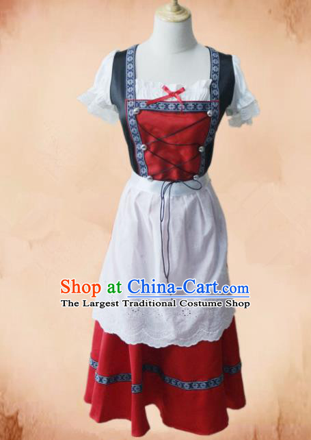 Europe Medieval Traditional Maidservant Costume European Farmwife Red Dress for Women