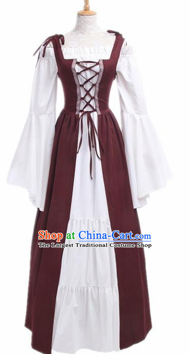 Europe Medieval Traditional Costume European Court Lady Purplish Red Dress for Women
