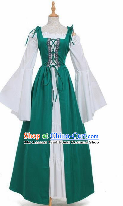 Europe Medieval Traditional Costume European Court Lady Green Dress for Women