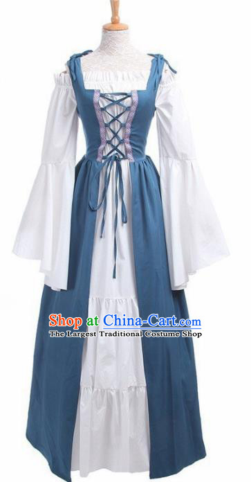 Europe Medieval Traditional Costume European Court Lady Blue Dress for Women