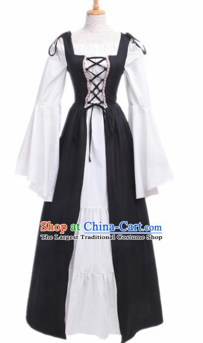 Europe Medieval Traditional Costume European Court Lady Black Dress for Women