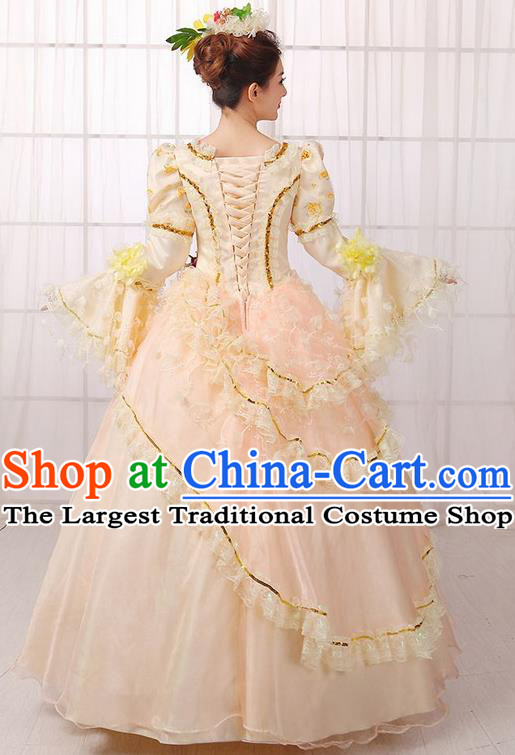 Europe Medieval Traditional Court Costume European Princess Blue Full Dress for Women