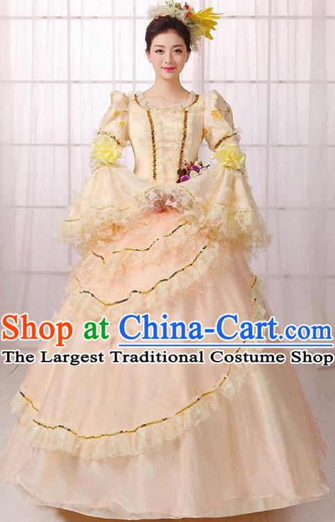 Europe Medieval Traditional Court Costume European Princess Brown Full Dress for Women