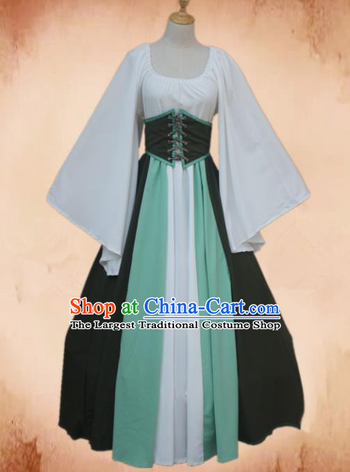 Europe Medieval Traditional Young Lady Costume European Maidservant Dress for Women