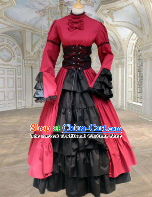 Europe Medieval Traditional Court Maid Costume European Red Dress for Women