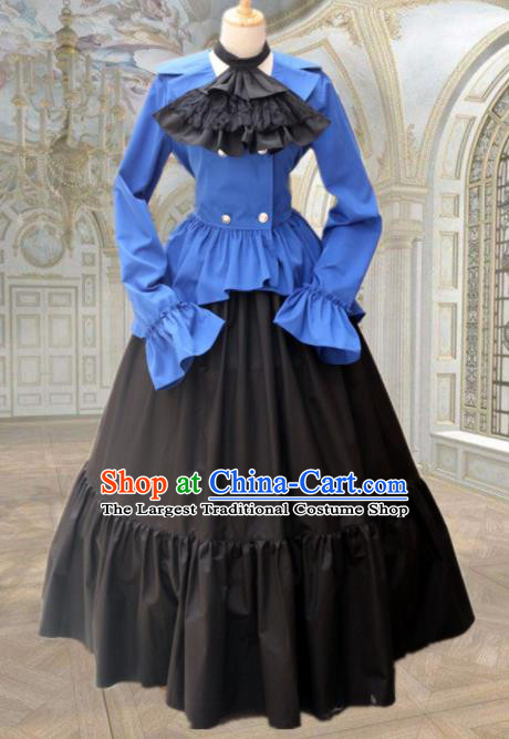 Europe Medieval Traditional Court Maid Costume European Black Dress for Women