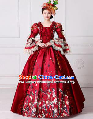 Europe Medieval Traditional Court Dance Ball Costume European Queen Red Dress for Women