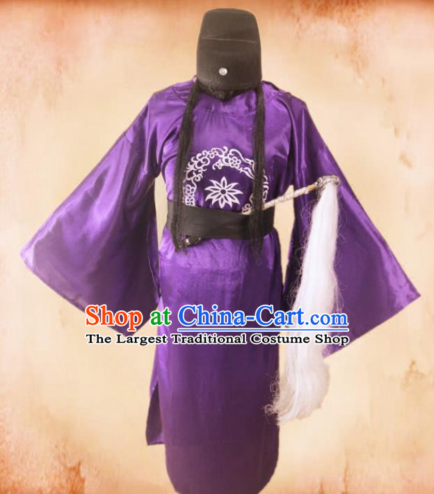 Chinese Traditional Ancient Minister Costume Ming Dynasty Eunuch Purple Clothing for Men
