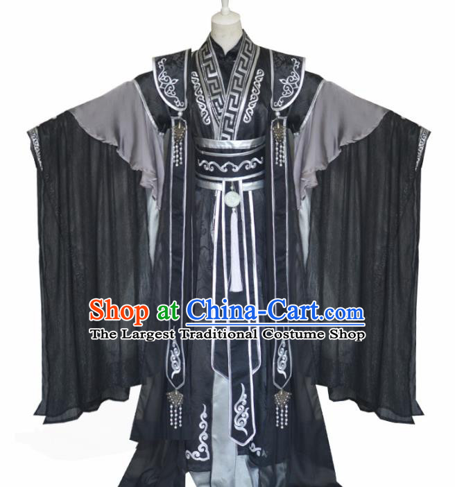 Traditional Chinese Cosplay Emperor Black Clothing Ancient Swordsman Costume for Men
