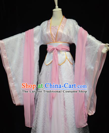 Traditional Chinese Cosplay Swordswoman Pink Hanfu Dress Ancient Peri Princess Costume for Women