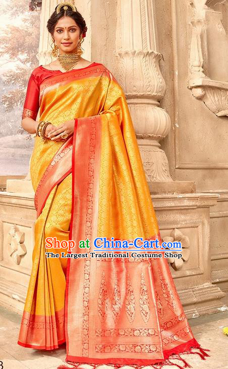Indian Traditional Costume Asian India Golden Brocade Sari Dress Bollywood Court Queen Clothing for Women