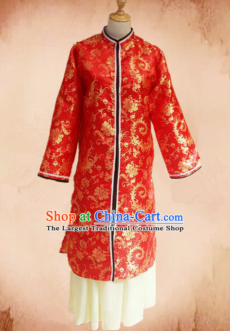 Traditional Chinese Ming Dynasty Young Mistress Red Hanfu Dress Ancient Maidservants Costume for Women